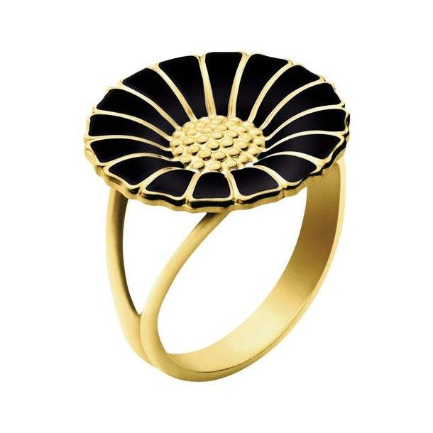 Forgyldt/sort Daisy Ring 18 mm