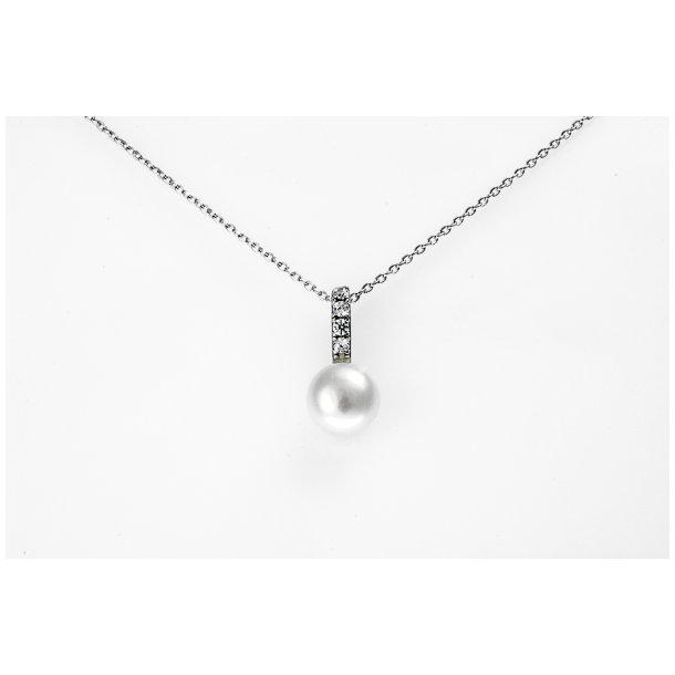 Sølv halskæde med perle