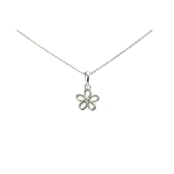 Sølv blomster halskæde.