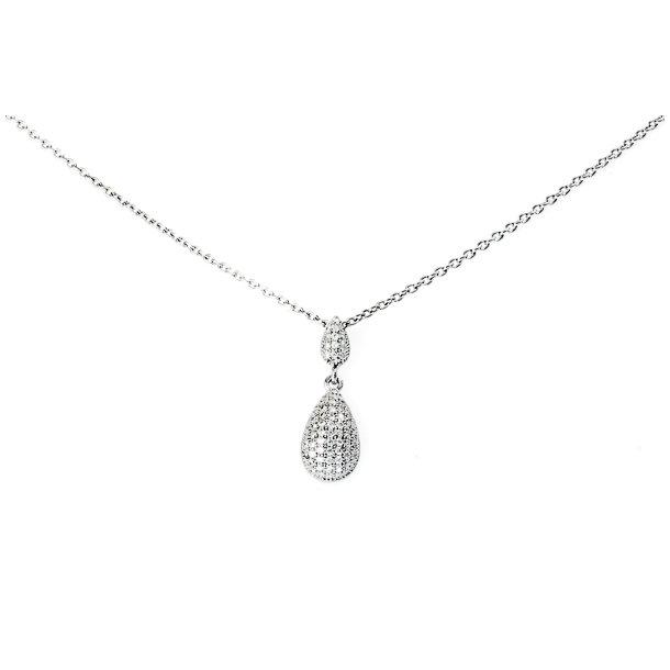 Sølv halskæde med zirkonia.