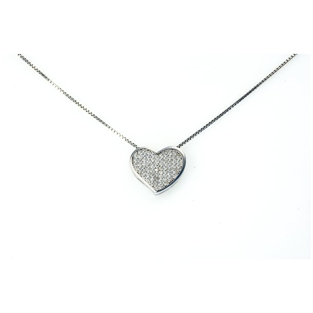 Hjerte sølv halskæde