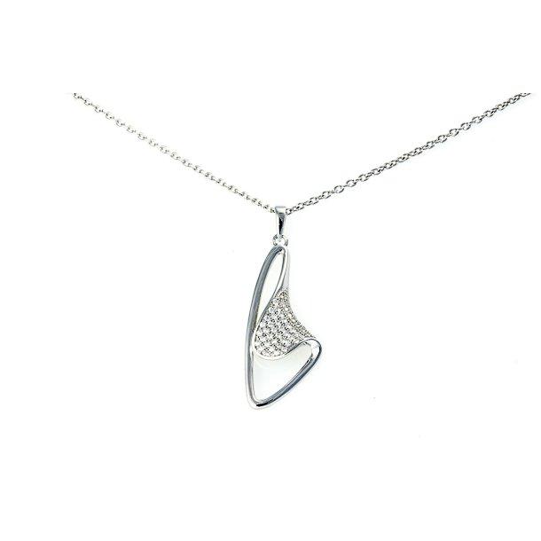 Sølv halskæde med zirkonia