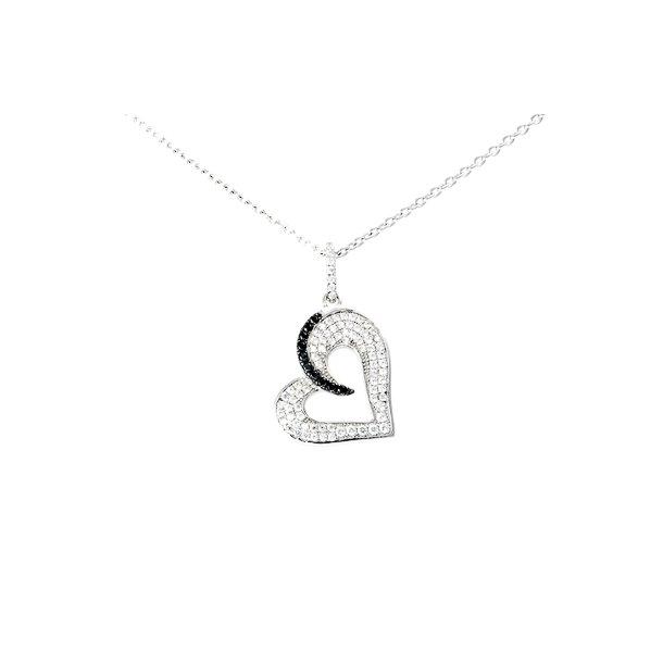 Sølv hjerte halskæde med sorte og hvide sten