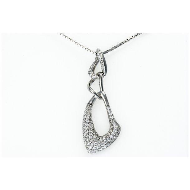 Leddelt sølv halskæde med zirkonia