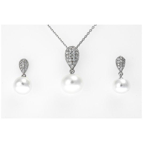 Sølv perle smykkesæt