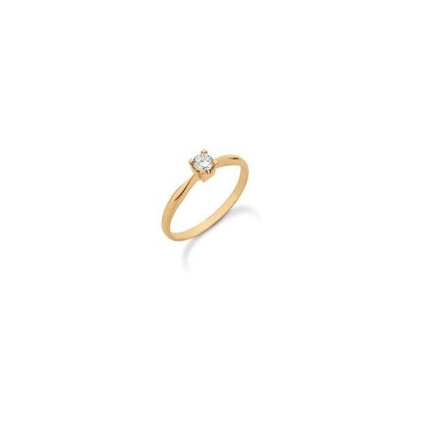 14 karat diamant ring med 0,15 ct.