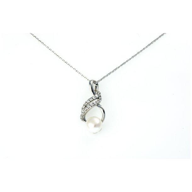 Sølv perle vedhæng i kæde
