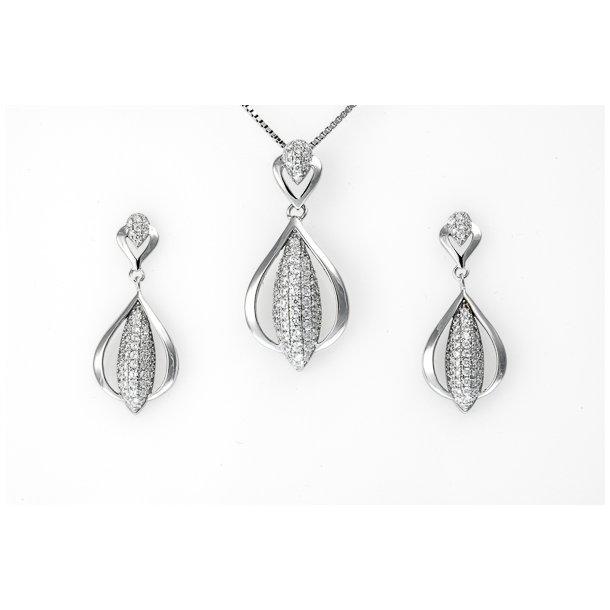 Sølv smykkesæt med zirkonia