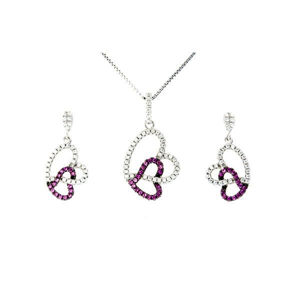 Sølv hjerte smykkesæt med zirkonia