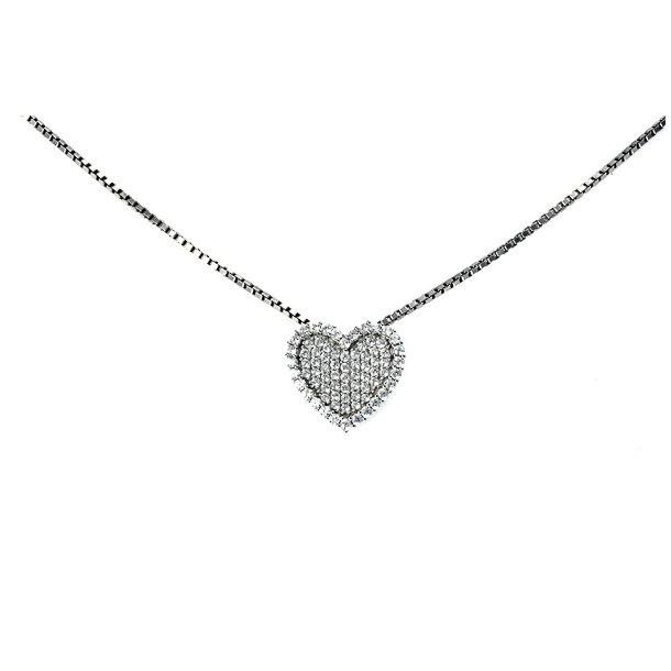 Sølv hjerte halskæde med zirkonia.