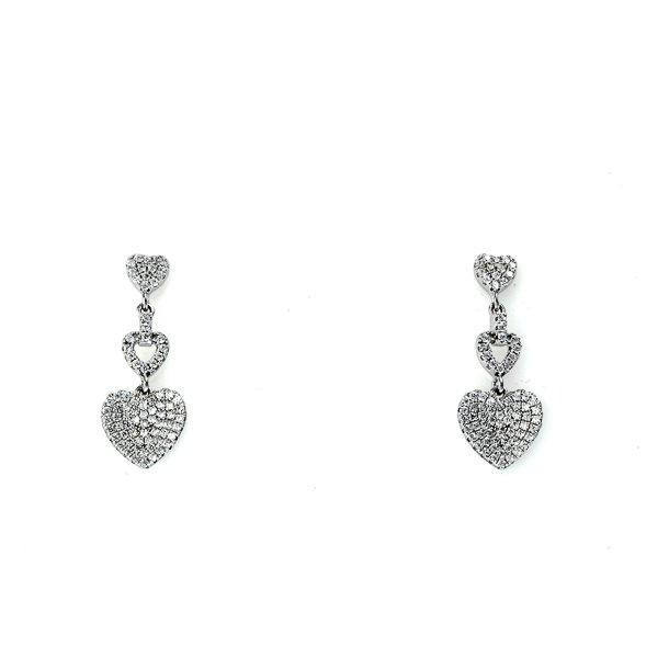 Sølv ørehænger hjerte med zirkonia
