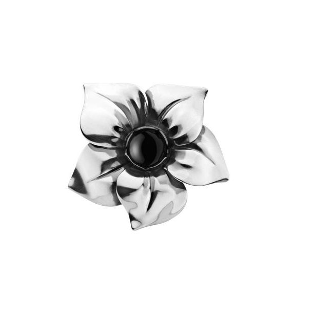 Flower ring med sort agat