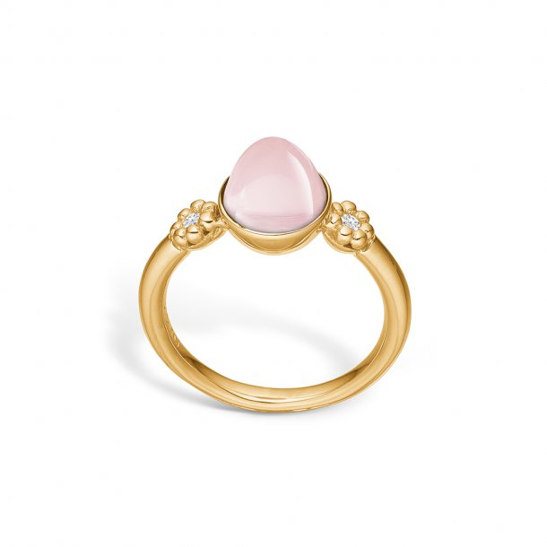 14 karat ring med rosakvarts og diamanter