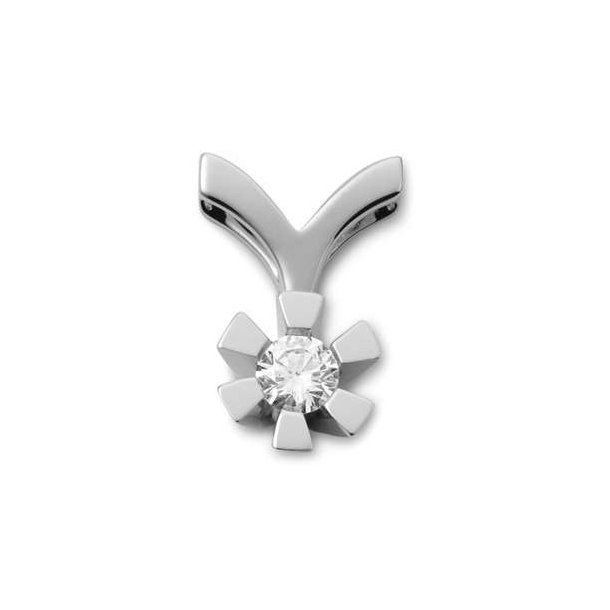 14 karat hvidgulds diamant vedhæng med 0,15 ct.