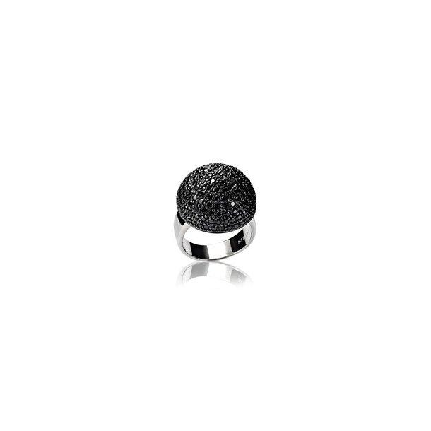 Sif Jakobs sølv ring med sorte zirkoner