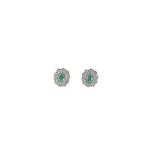 Smaragd og diamant ørestik