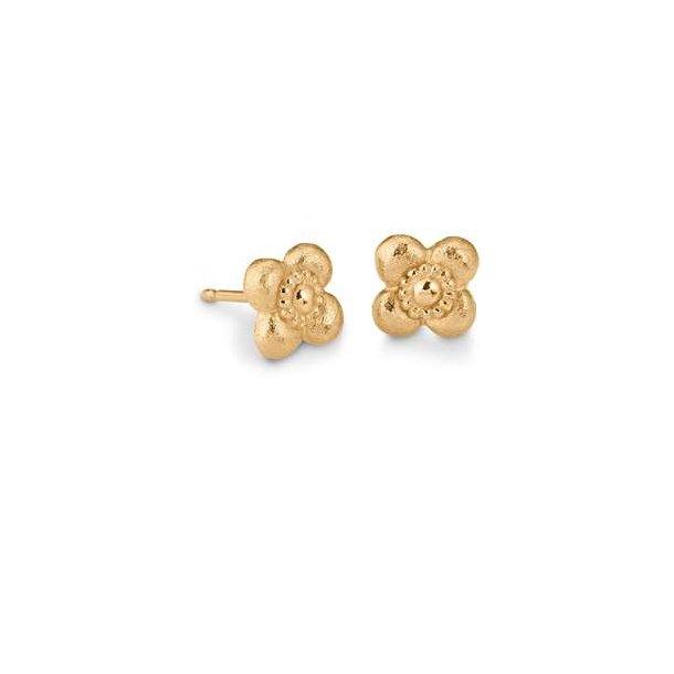 Blomster ørering i guld