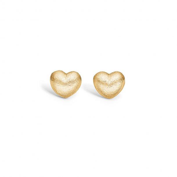 Matte forgyldt hjerte øreringe