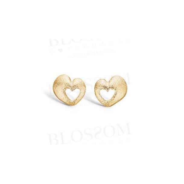 Forgyldt sølv hjerte øreringe