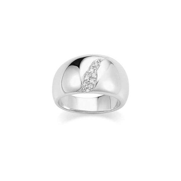 Rhodineret sølv ring med sten