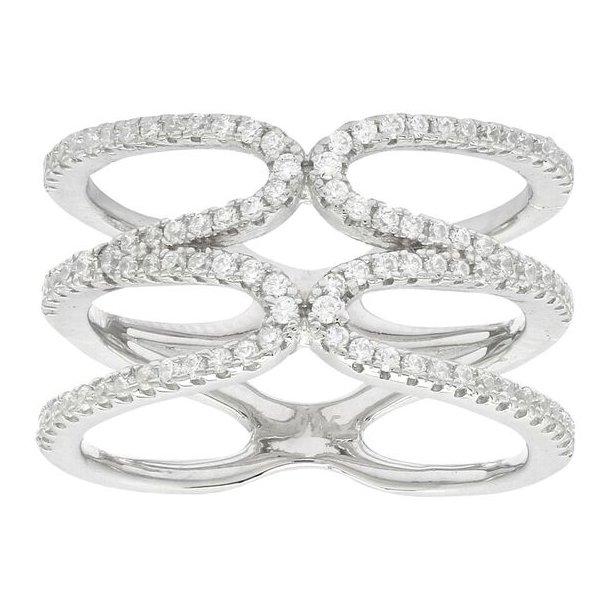 Bred sølv ring med sten