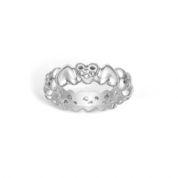 Rhodineret sølv ring med hjerter