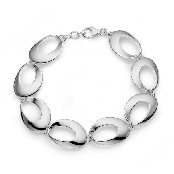 Blankt sølv armbånd med store åbne led.