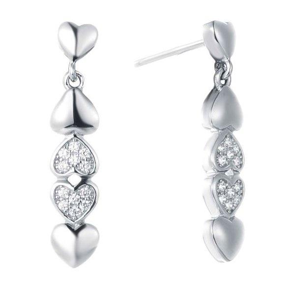 Rhodineret sølv øreringe med hjerter