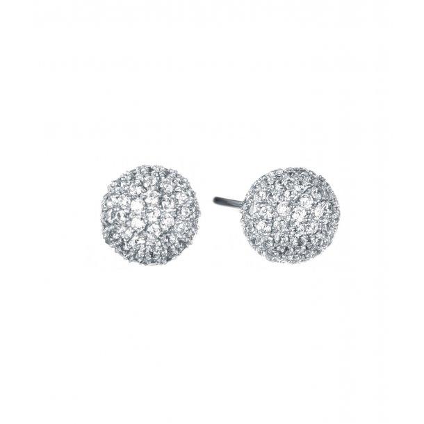 Rhodineret sølv kugle ørestikker m. zirkonia