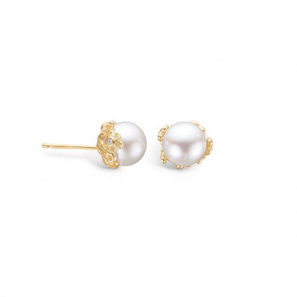 9 kt. perle ørestikker