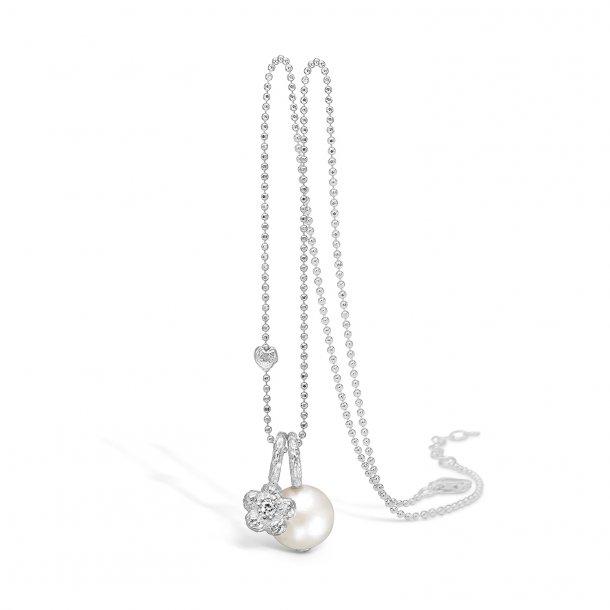 Rhod. sølv halskæde m. perle og blomst