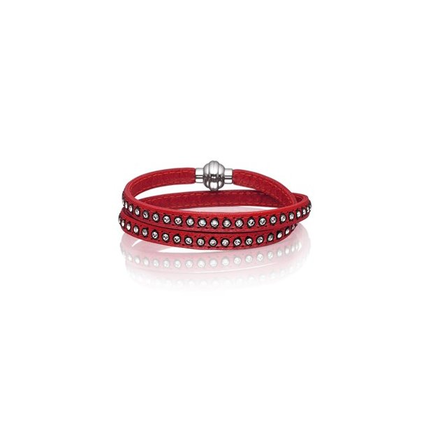 Rødt læderarmbånd