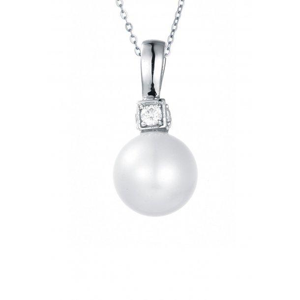 Sølv halskæde m. perle