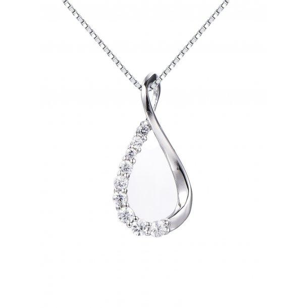 Enkel sølv halskæde m. zirkonia