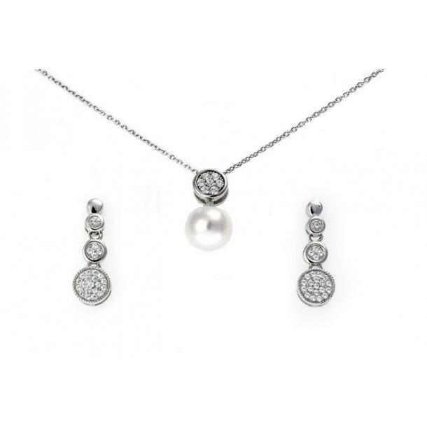 Smykkesæt i sølv med perle og sten