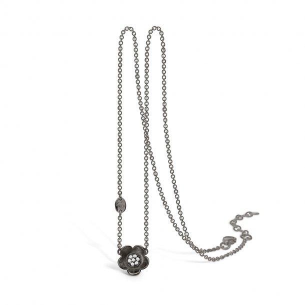 Oxyderet sølv halskæde med blomst