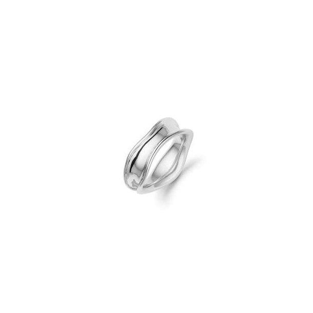 Rhod/oxyderet sølv ring m. fordybning