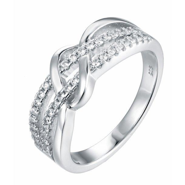 2 rækket sølv ring med sten