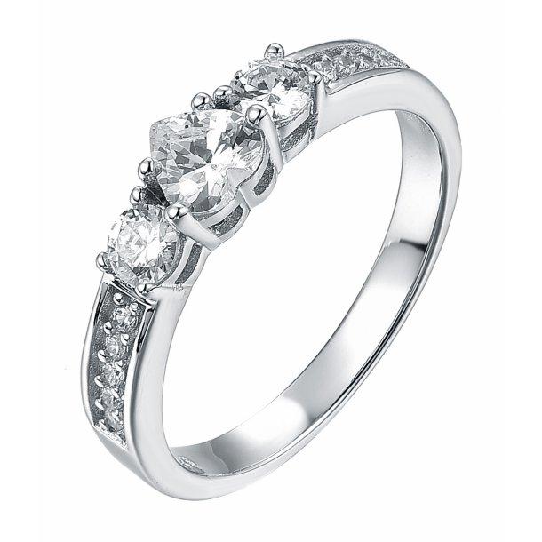 Smuk sølv ring med sten