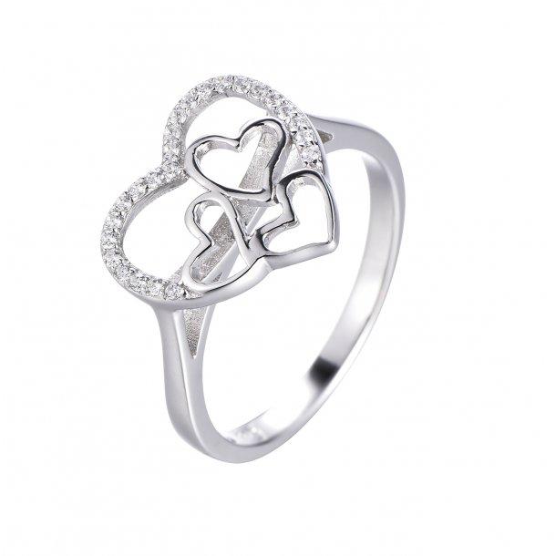 Hjerte med hjerter sølv ring