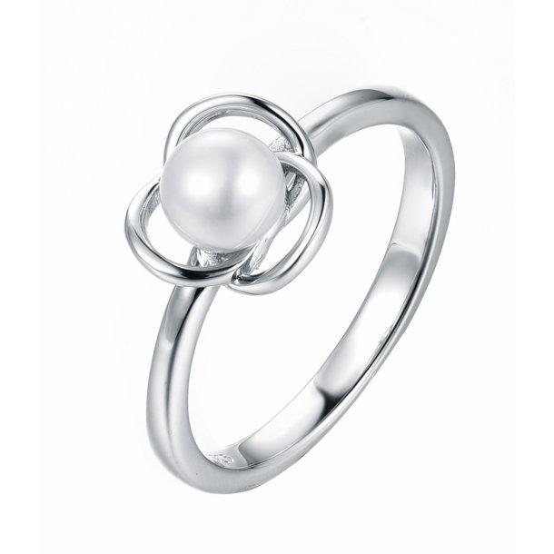 sølvring med perle