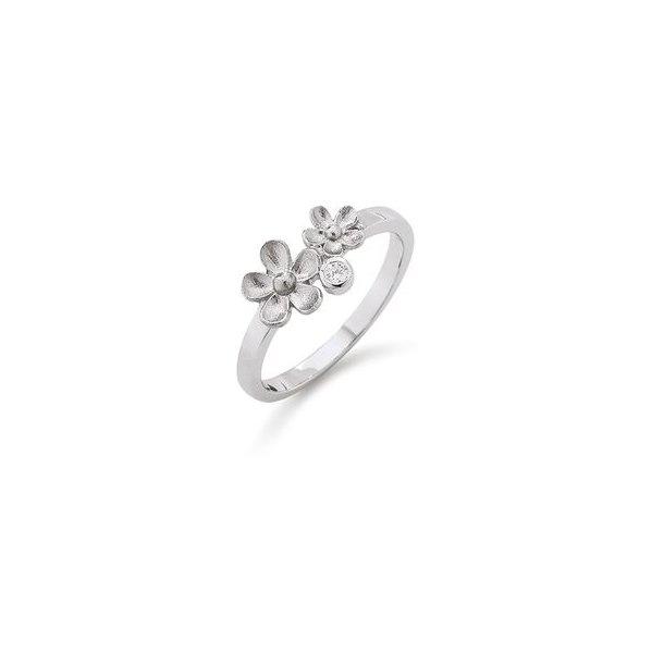 Rhodineret blomster sølv ring