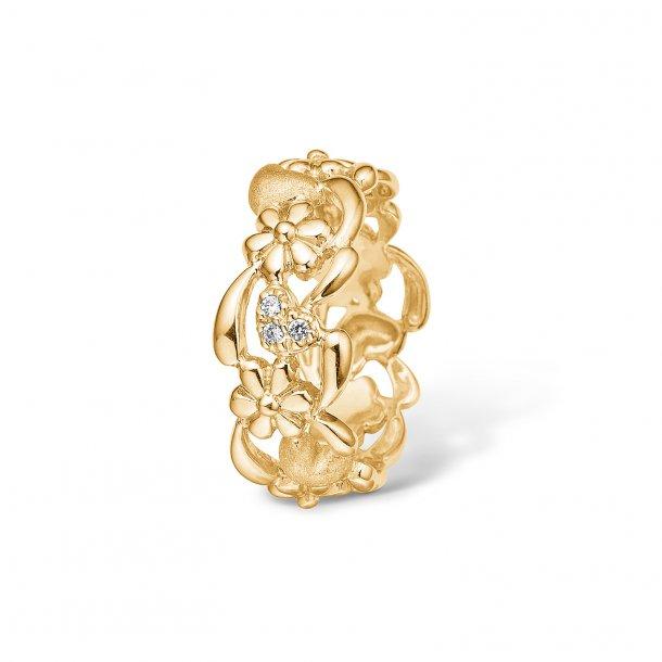 65654e1c6b48 9 kt. bred ring m. hjerter og blomster - Ringe - Guldsmedien Aps