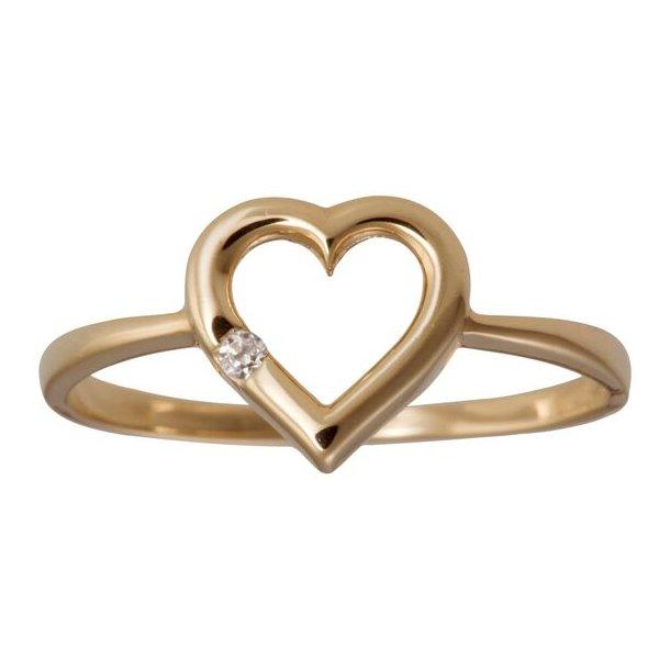 8 karat ring med hjerte