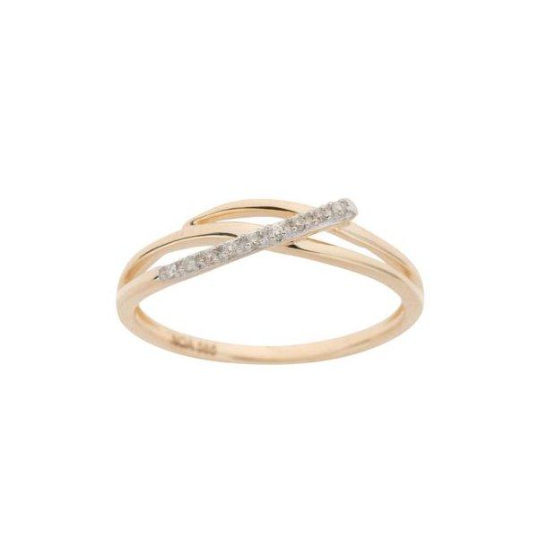 14 karat guld ring med brillanter