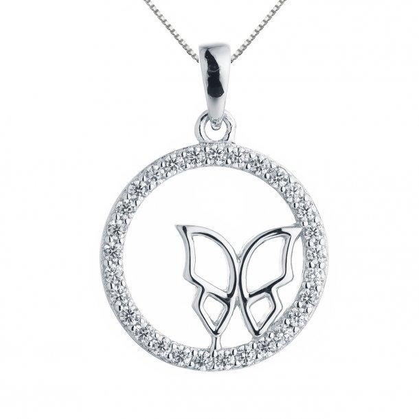 Cirkel halskæde med sommerfugl i rho. sølv