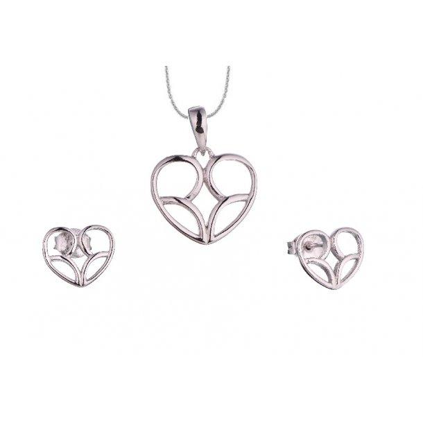 Sølv smykkesæt med hjerte