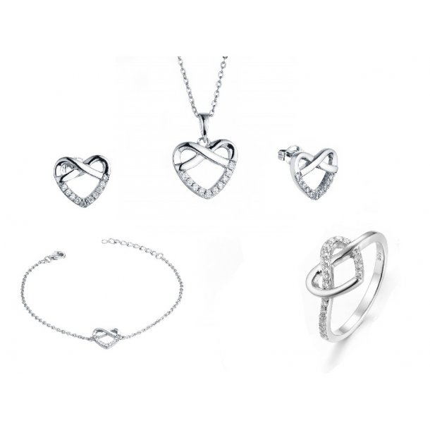 Rhodineret sølv smykkesæt