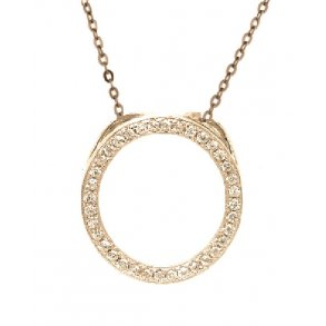 63ed6de6807 Forgyldt sølv cirkel halskæde med sten