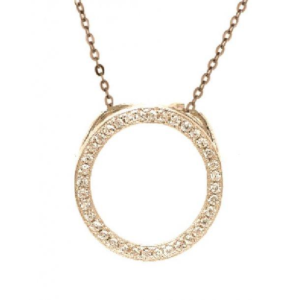 Forgyldt sølv cirkel halskæde med sten